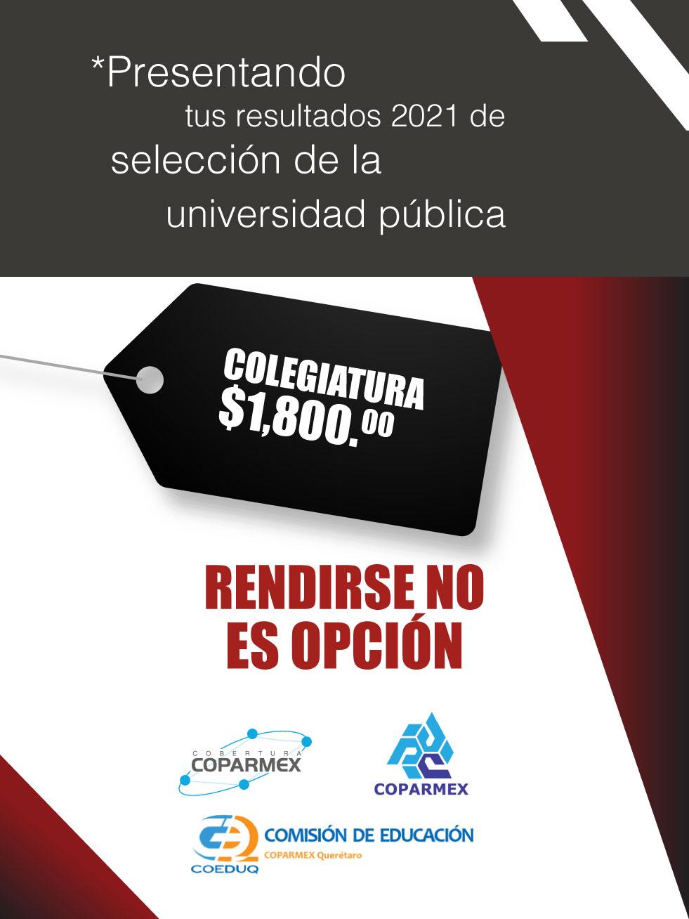 Colegiatura 1,800.00. Presentando tus resultados 2021 de selección de la universidad pública